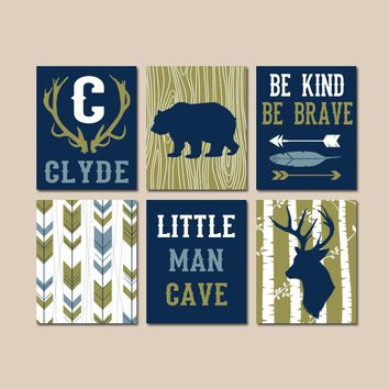 WOODLAND NURSERY Wall Art, Boy Tribal Decor, Arrows Deer Bear Antlers Birch, Little Man Cave, Be Brave Kind, Canvas or Prints, Set of 6