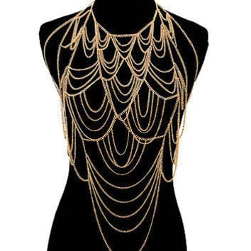 Gold DRAPE LOOP-to-LOOP LINK CHAIN BODY CHAIN Statement Layered Metal