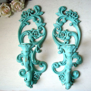 Aqua Mint Vintage Wall Sconces, Aqua Ornate Candle Holders, Shabby Chic, Cottage Chic, Aqua and Gold Wall Sconces