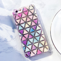 Cute Geometric Triangle Case For iphone 6 6S Plus Back Cover Dynamic Liquid Glitter Quicksand Phone Cases Hipster Stylish Shell