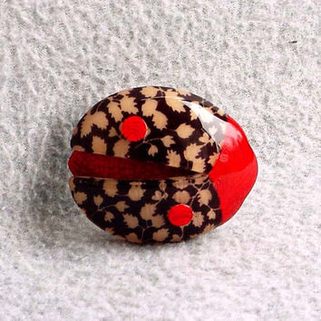 Lea Stein Ladybug Pin Lucky Brooch Autumn Leaf Design 2 1/2 Inches Long By 2 1/4 Inches Tall Celluloid Signed Paris France Costume Jewelry