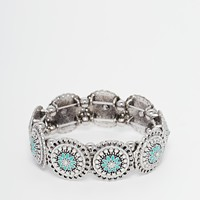 New Look Enamel Flower Disc Stretch Bracelet
