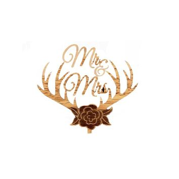 MR MRS Wooden Wedding Cake Topper Decorative Wood Grain Cake Picks for Party Decoration (Antler)