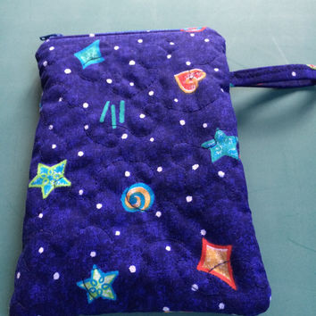 Waterproof Quilted Bag Wet-Dry Bag Electronics Cosmetics Blue Galaxy