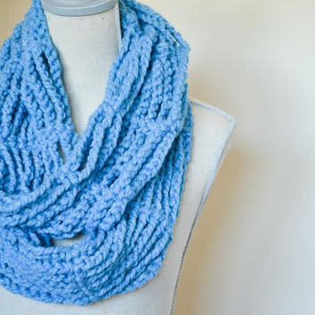 Blue Crochet Chain Infinity Scarf, Fall scarf, Chunky Cowl scarf