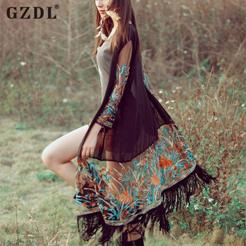 GZDL Fashion Women Loose Blouse Summer Boho Chiffon Shawl Crochet Floral Cardigan Blouses Tops Shirt Blusas Femininas CL2720