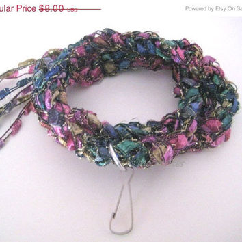 ON SALE Crochet Wrap Bracelet Crochet Necklace Lanyard Multicolor ID Badge Name Tag Business Attire Ladder Yarn Necklace