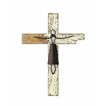 Creative Co-Op Distressed White Wood and Metal Wall Cross