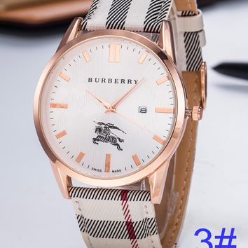 BURBERRY Watch Wome's Men Classic Plaid print Watches B-PS-XSDZBSH White+Rose gold Shell