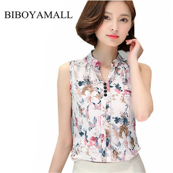 BIBOYAMALL Women Blouses 2017 Summer Casual Elegant OL Chiffon Blouse Sleeveless Work Wear Blusas Tops Shirts Plus size XXXL