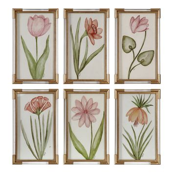 Pretty In Pink Floral Framed Artwork - Set of 6 by Uttermost