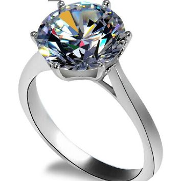 THREEMAN Solid White Gold 750 Jewelry 4Ct Famous Crown Moissanite Ring Engagement Ring for Women Wedding Jewelry