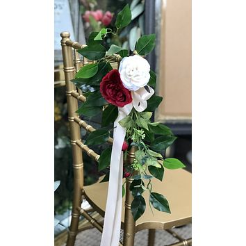 Aisle marker church pew chair lantern flower - Red and White artificial flowers with Berries and Leaves