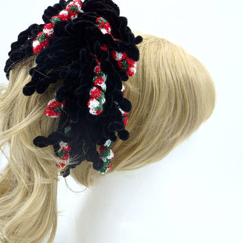 Great accessory for a Christmas  Season a bun holder with corkscrew spirals crochet ponytail tie