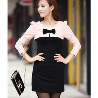 Long Sleeve Women Autumn New Style Korean Style Slim Bowknot Cotton Pink Mini Length Dress M/L @WH0411p $23.68 only in eFexcity.com.