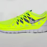 Womens Nike Free 5.0 in Volt with Swarovski crystal detail on outside swoosh
