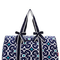 Anchor Print Quilted Duffel Bag