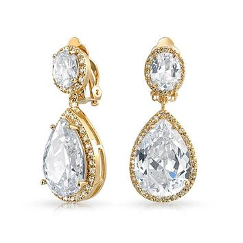 Drop CZ Halo Prom Statement Dangle Clip On Earring 14K Gold Plated