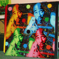 Tupac Shakur painting ,2pac,4pac,stencil art,spray paints,30 by 30 inch canvas,hip hop,urban,westcoast,rapper,pop art,Los Angeles,California