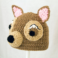 Bambi Hat, Brown Crochet Deer Beanie, send size choice baby - adult