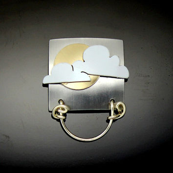 Gold Sun and Cloud Square Magnetic Eyeglass and ID Badge Holder