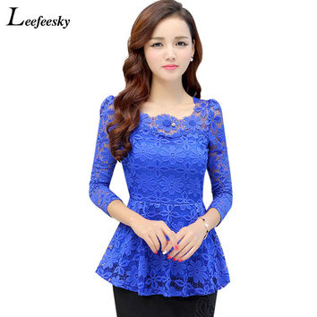 XXXXL Women Tops And Blouses 2017 New Fashion Long Sleeve Lace Blouse Pleated Crochet Blusa Peplum Top Plus Size Women Clothing