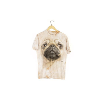 giant pug face tie dye tee / pugs t-shirt / dog / spirit animal / puppy / cute / funny / weird / the mountain / brown tan beige