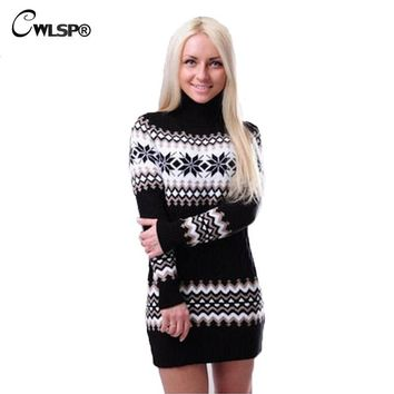 CWLSP Snowflake Twisted Christmas Sweater Autumn Winter Women Warm Striped Turtleneck Sweater Dress Pullover pull femme QZ1885