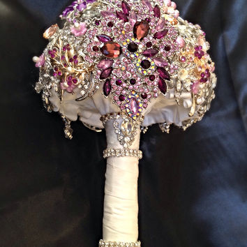 Pink Purple Wedding Brooch Bouquet. Deposit on made to order Crystal Bling Diamond Bridal Broach Bouquet. Jeweled Broach Bouquet