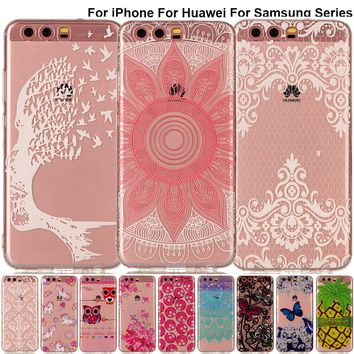 B67 Pretty Fruit Cartoon Phone Case For iPhone X 8 7 6 Plus 5 Transparent Silicone Back Cover For Huawei P10 P9 G9 P8 Lite 2017