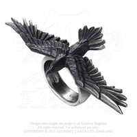 Alchemy Gothic Black Flying Raven Crow Consort Ring