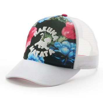 Disney's The Lion King ''Hakuna Matata'' Floral Women's Baseball Hat, Size: One Size (White)