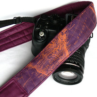 World Map Camera Strap. Photo camera Accessories. Purple Camera Strap. SLR, DSLR Camera Strap. Gift For Photographer.