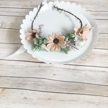 Peach flower crown, blush bridal crown - Bridal flower crown