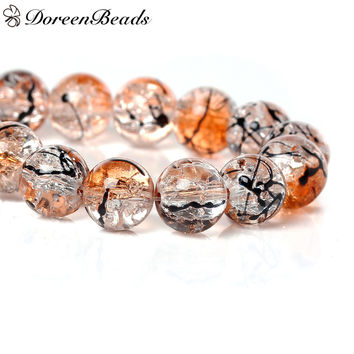 DoreenBeads Crystal Glass Beads Round Orange Mottled About 10mm Dia Hole about:1.4mm 80cm 1 Strand(About 84 PCs Strand)