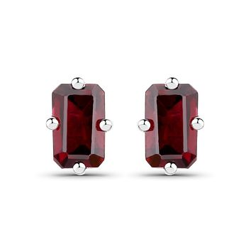 Natural Emerald Cut Red Garnet Stud Earrings