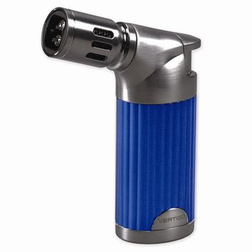 Vertigo Champ Blue Pearl And Gunmetal  Quad Flame Table Torch Lighter