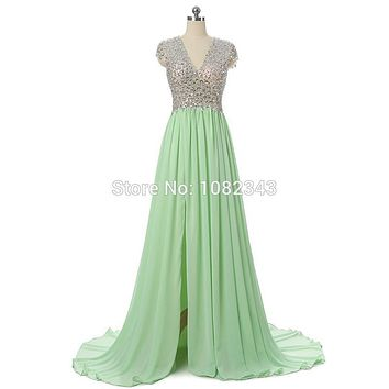 Real Photo A Line V Neck Green Chiffon Beading Cap Sleeves Long Prom Dress 2016 High Slit Backless Floor Length Party Dress