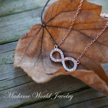 Clear Cubic Zirconia Sideways Infinity Pendant Necklace