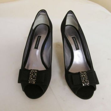 Caparros Olinda Black Satin Rhinestone Adorned Open Toe Pump Women's 7.5 M
