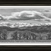 Monochrome Rocky Mountain Front Range Panorama Range Panorama Framed Print