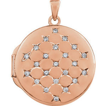 14K Rose Gold-Plated Sterling Silver Round Cubic Zirconia Locket