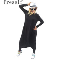 Preself Plus Size rompers womens jumpsuit loose casual long jumpsuit playsuit harem romper celeb black oversize coveralls