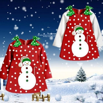 New Christmas Dresses Girls Kids Snowman Long Sleeve Dot Top Coat Dress Age 2~7Y [8833596492]