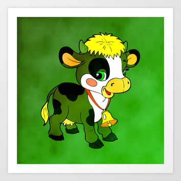 Childhood Cow Art Print by Texnotropio