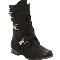 Black Suede Buckle Combat Boot