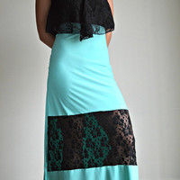 Tiffany Blue and Black Lace Maxi dress