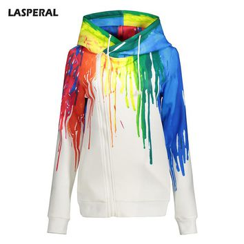 LASPERAL 2017 Oil Painting 3D Print Hoodie Women Casual Long Raglan Sleeve Zip-up Sweatshirts Ladies Girls Spring Autumn Coats