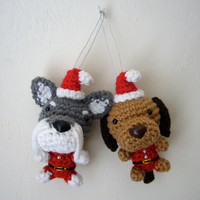 Christmas Tree Ornament Dog Santa Amigurumi Puppy Stocking Stuffer Crochet Dog -- Choose a Breed / Made to Order