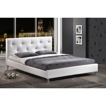 Barbara Soft White Tufted Upholstered Queen Size Bed | Overstock.com